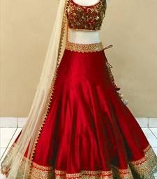 Buy red silk embroidered unstitched lehenga choli pakistani-lehenga online