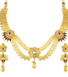 Buy Beguiling laxmiji coin temple jewellery gold plated necklace set for women necklace-set online