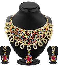 Buy Gorgeous Gold Plated AD Necklace Set For Women necklace-set online