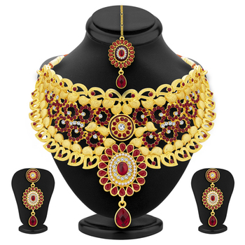 Royal Gold Plated AD Necklace Set For Women