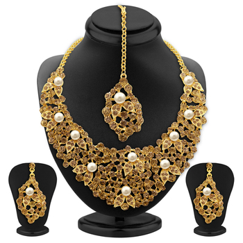Designer LCT Stone Gold Plated AD Necklace Set For Women