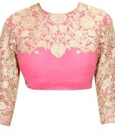 Buy Pink embroidery Raw silk unstitched blouse blouse-fabric online