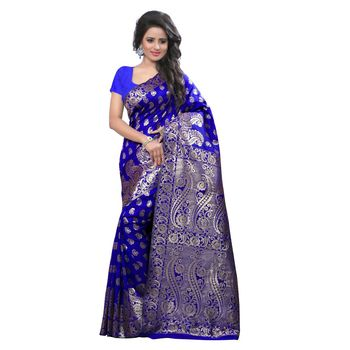 blue embroidered banarasi silk saree With Blouse