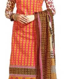 Buy Pink lawn cotton unstitched salwar with dupatta cotton-salwar-kameez online