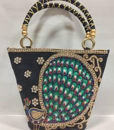 Buy Peacock Design Embroidery Handbag in Black black-friday-deal-sale online