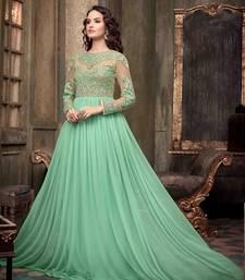 Buy Green Net embroidered semi stitched salwar with dupatta anarkali-salwar-kameez online
