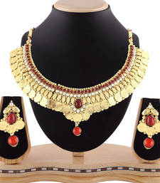 Buy Traditional maroon stone temple jewellery coin necklace set bridal-set online