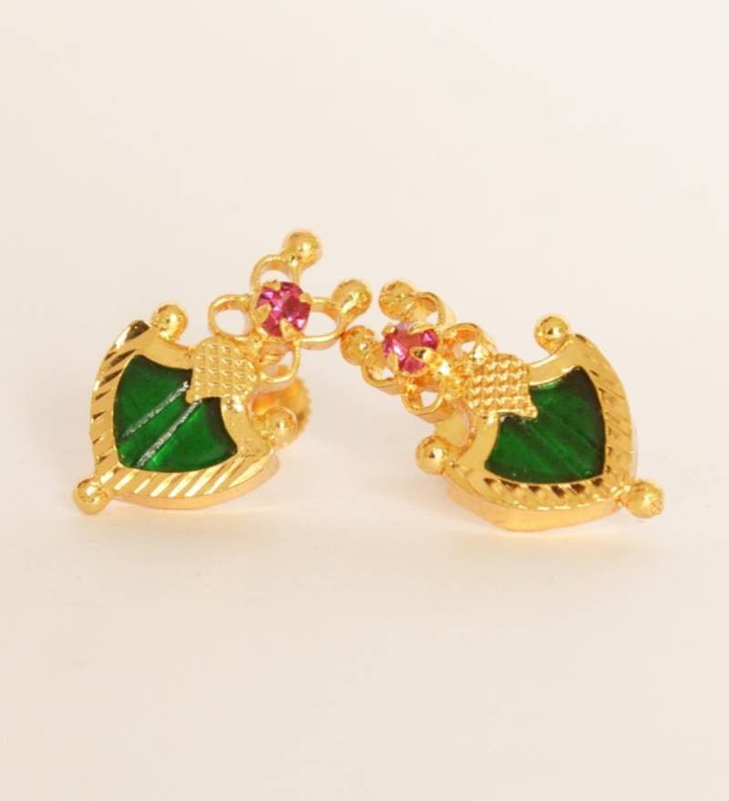 Buy Green palakka stud earrings Online