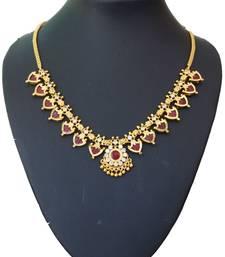 Buy Maroon palakka necklace with fourteen palakka Necklace online