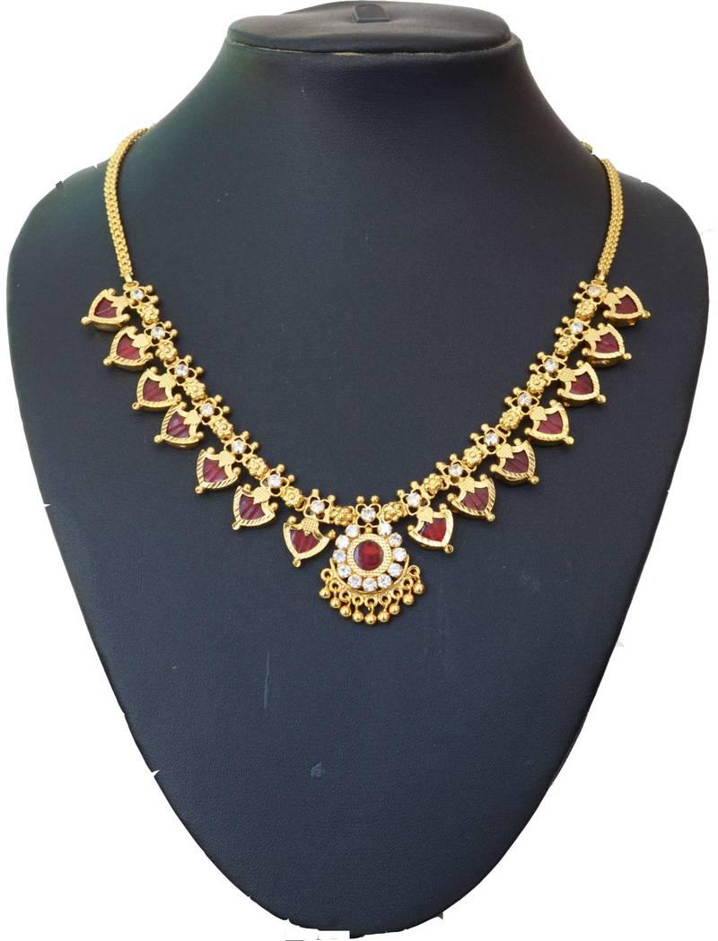 Buy Maroon Palakka Necklace With Fourteen Palakka Online