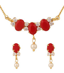 Buy Orange pendant set with chain Pendant online