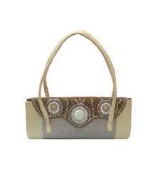 Buy Gold Elegant Handbag with Curvy Beaded Flap handbag online