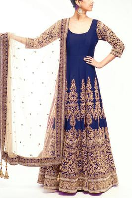 navy blue art silk embroidered semi stitiched salwar with dupatta