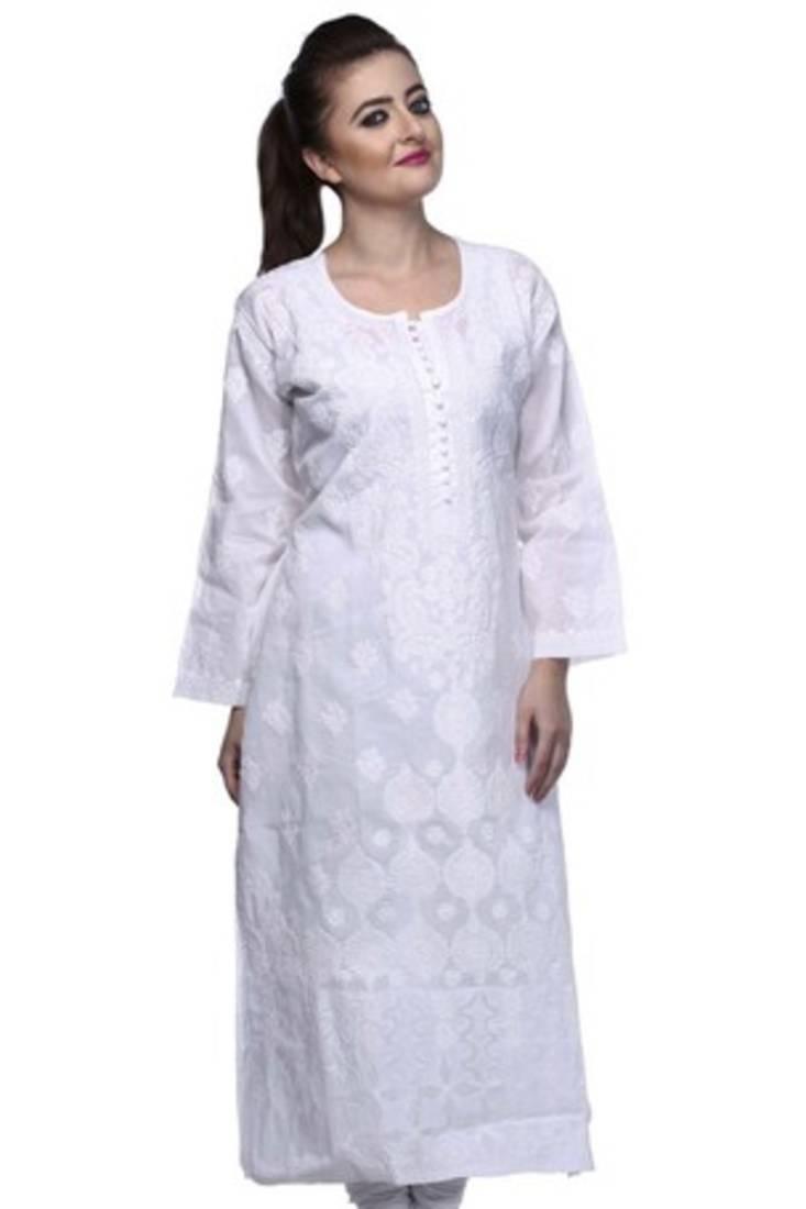 Buy Hand Embroidered White Cotton Lucknowi Chikankari Kurti Online