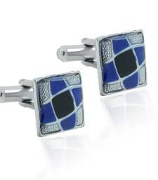 Buy Square blue black enamel checks rhodium plated cufflink for men cufflink online