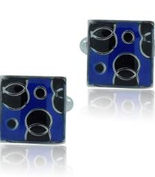 Buy Square blue black checks enamel rhodium plated cufflink for men cufflink online