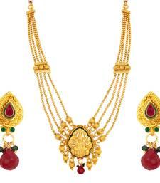 Buy Elegant Laxmi Four String Laxmi Temple Gold Plated Necklace Set For Women necklace-set online