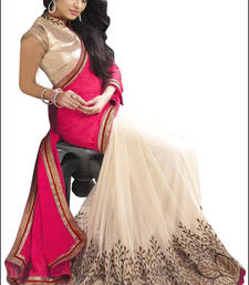Buy Pink embroidred georgette saree with blouse Saree online