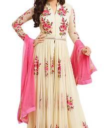 Buy Cream georgette embroidered semi stitiched salwar with dupatta party-wear-salwar-kameez online