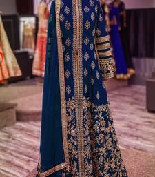 Buy Navy Blue bangalori silk embroidery semi stitiched salwar with dupatta anarkali-salwar-kameez online