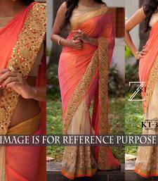 Buy orange embroidered net saree With Blouse wedding-saree online