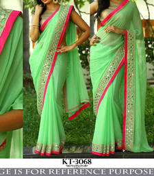 Buy light_green embroidered georgette saree With Blouse bridal-saree online