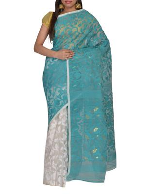 Sea Green & White Bengal handloom  Silk Cotton  jamdani sari without Blouse