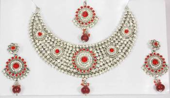 Silver Plated Indian Fashion Red Stone and Zircon Necklace Set