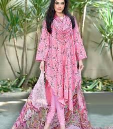 Buy Pink cotton printed unstitched salwar with dupatta malaika-arora-khan online