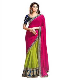 Buy georgette saree by Ravechi Fab (Pink) designer-embroidered-saree online