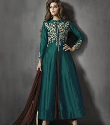Buy Green and brown georgette embroidered semi stitiched salwar with dupatta indowestern online