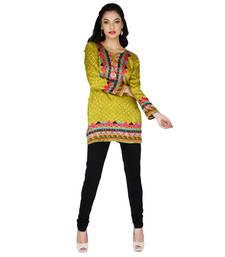Buy Green american crepe printed stitched kurti kurtas-and-kurti online
