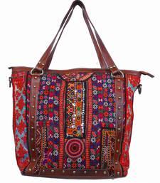 Buy Antique rabari ethnic kuchi leather banjara tote bag tote-bag online