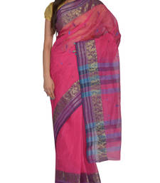 Buy Pink hand woven cotton saree handloom-saree online