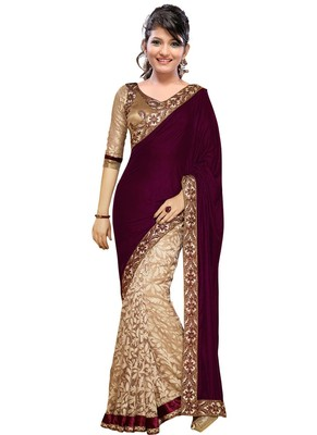 maroon embroidered velvet saree With Blouse