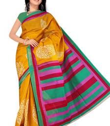 Buy Pavechas Mangalgiri Printed Cotton Sari  -  Fiza Mustard MK455 below-500 online