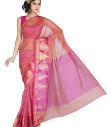 Buy Pavecha's Banarasi Cotton Temple Border Saree - Pink MK742 cotton-saree online