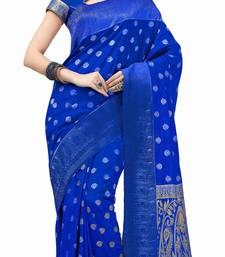Buy Blue woven cotton silk saree With Blouse traditional-saree online