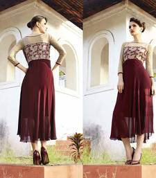 Buy Beige and maroon georgette embroidered stitched kurti georgette-kurti online