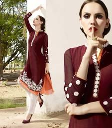 Buy Maroon georgette embroidered stitched kurti georgette-kurti online