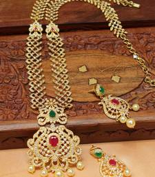 Buy Gorgeous High gold plated long necklace set south-indian-jewellery online