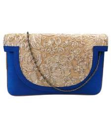 Buy Raw Silk Clutch with Golden Rose Work (Blue) clutch online