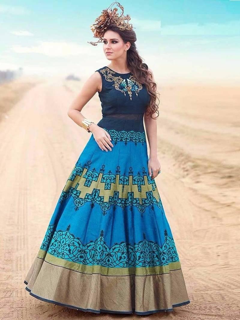 Buy Blue art silk hand woven semi stitched indian wedding bridal ...
