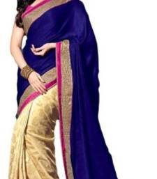 Buy blue and chiku Lace Border Satin saree With Blouse tamanna-bhatia-saree online