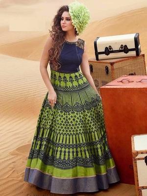 Light green art silk embroidered semi stitched salwar with dupatta