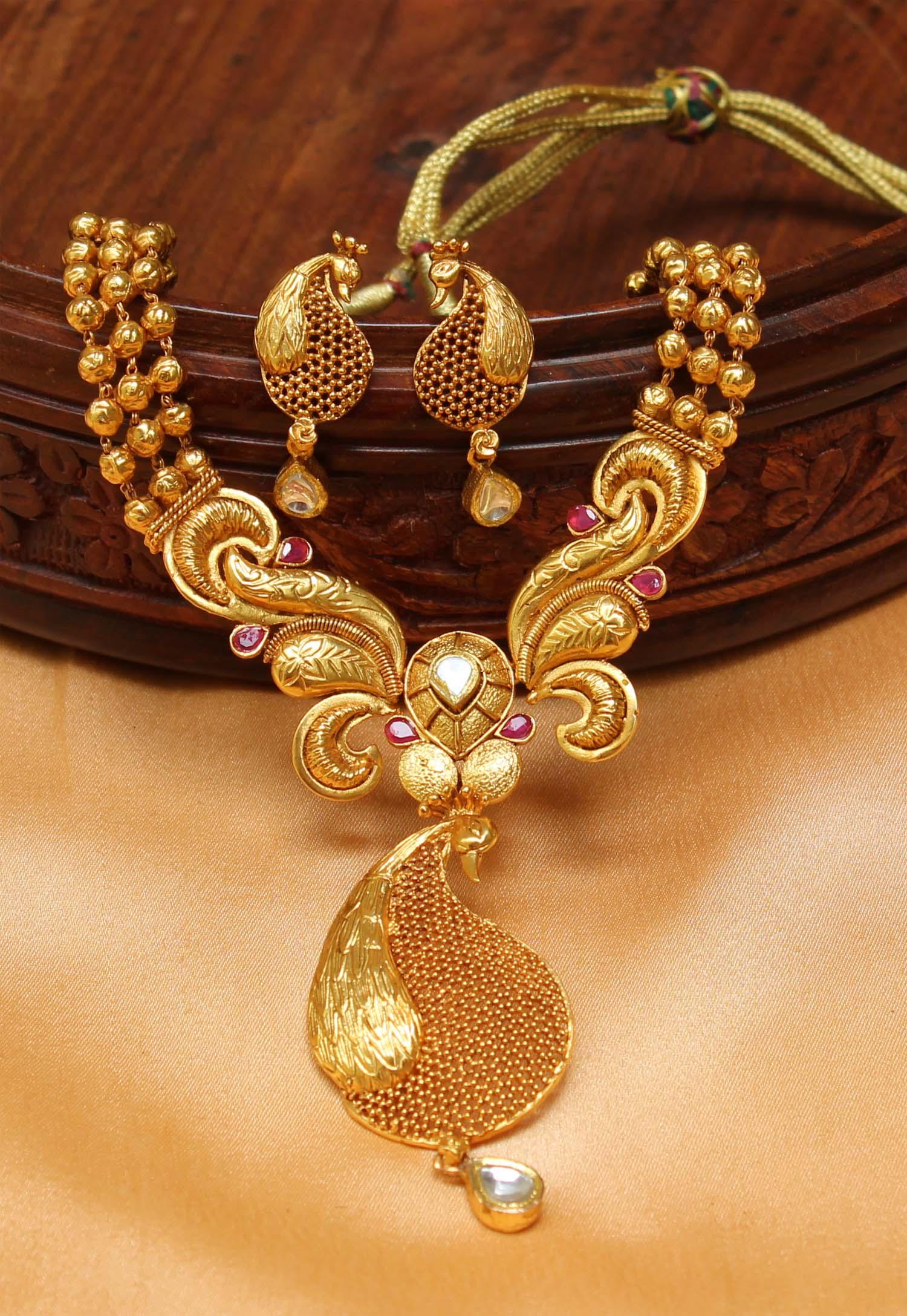 Buy Gorgeous Designer One gram gold replica Peacock necklace set ...