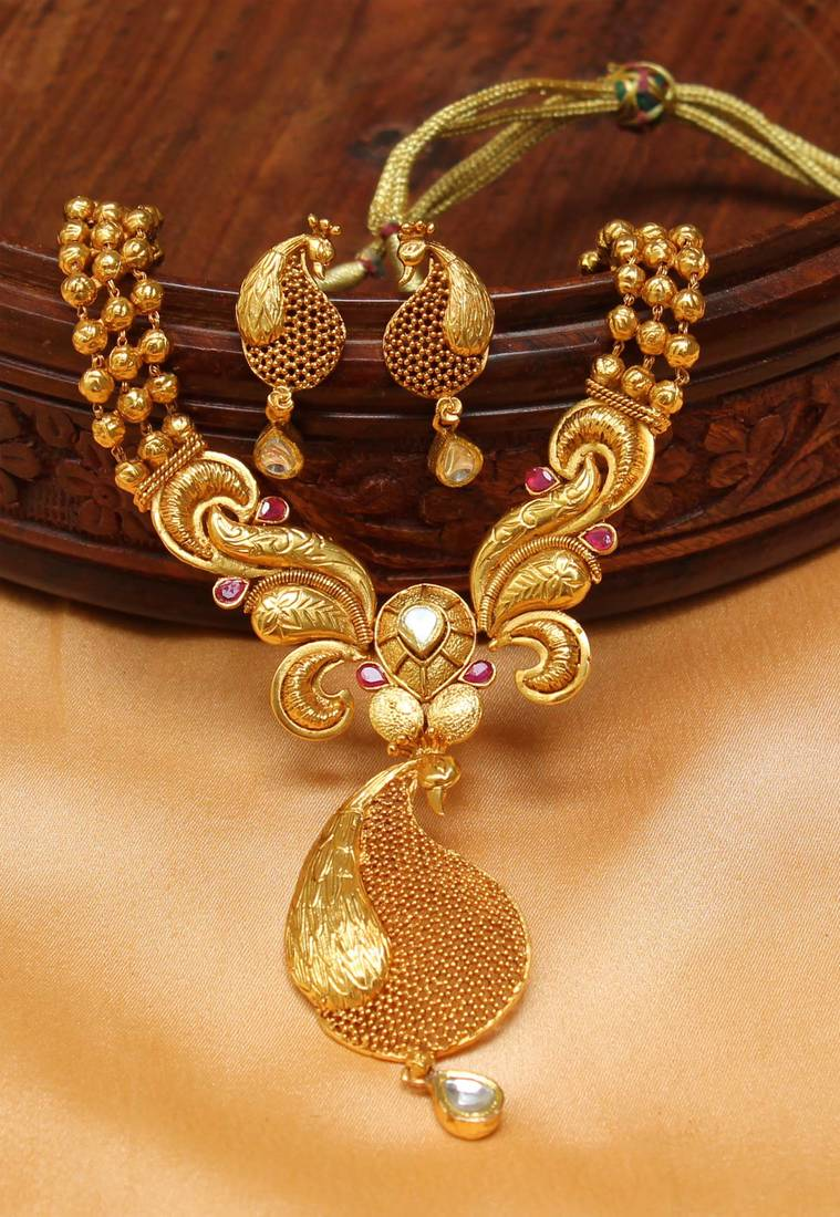 Buy gorgeous designer one gram gold replica peacock necklace set designer one gram gold replica peacock necklace set with screw type earrings aloadofball Gallery