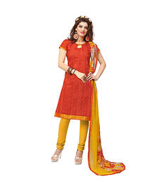 Buy Red embroidered chanderi unstitched salwar with dupatta dress-material online