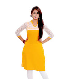 Buy yellow cotton stiched kutis party-wear-kurtis online
