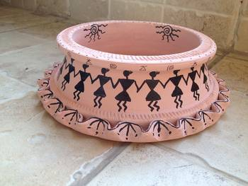 Peach Handmade Hand Painted Terra Cotta Utility Bowl with Warli design